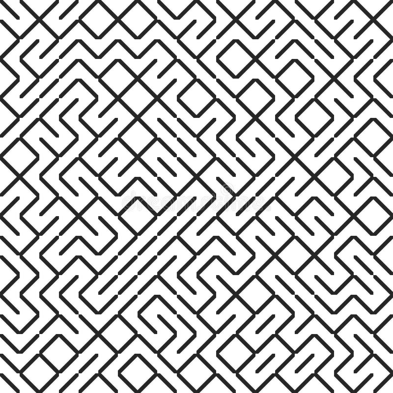 Línea inconsútil modelo del fractal del laberinto Truchet tejó el fondo del laberinto Contexto irregular geométrico ilustración del vector