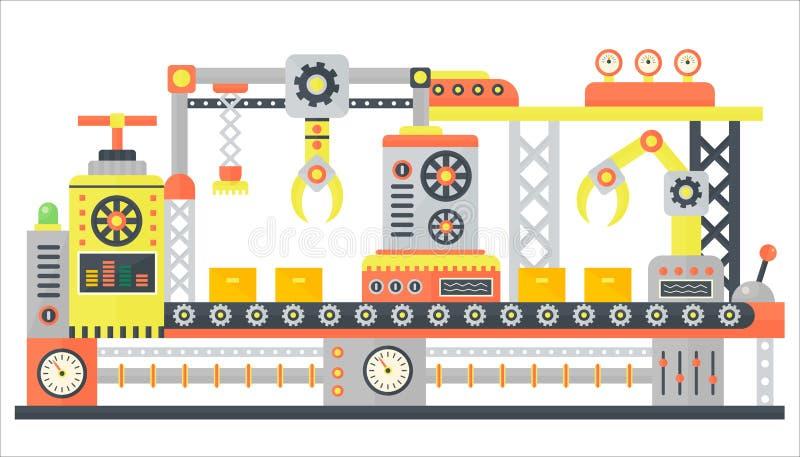 Línea industrial de la máquina abstracta en estilo plano Equipo de la tecnología de la maquinaria de construcción de fábrica, dir stock de ilustración