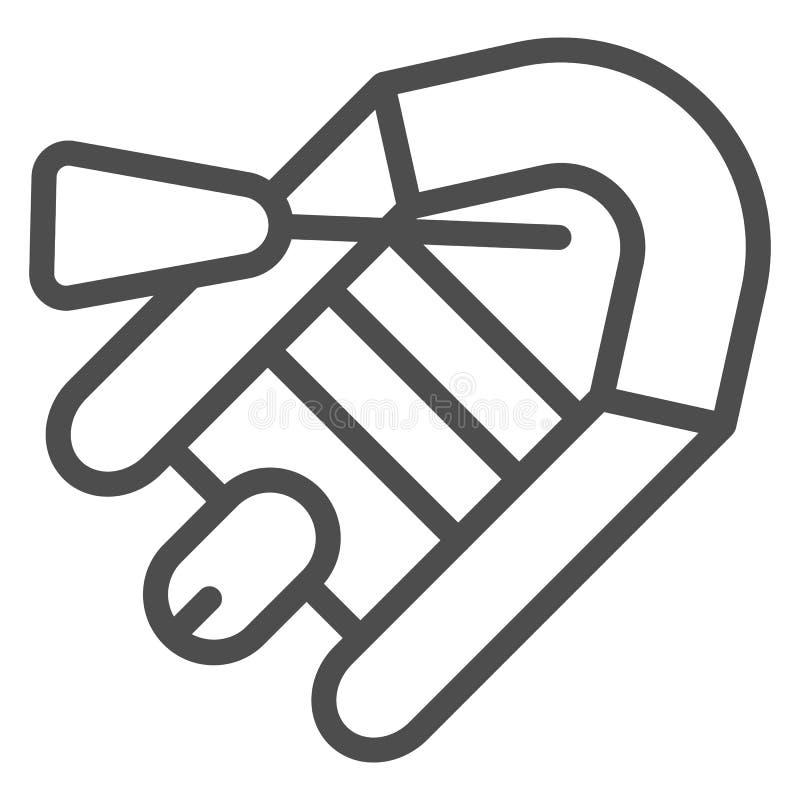 Línea inflable icono del barco Ejemplo del bote y de la paleta aislado en blanco Diseño de goma del estilo del esquema del buque stock de ilustración