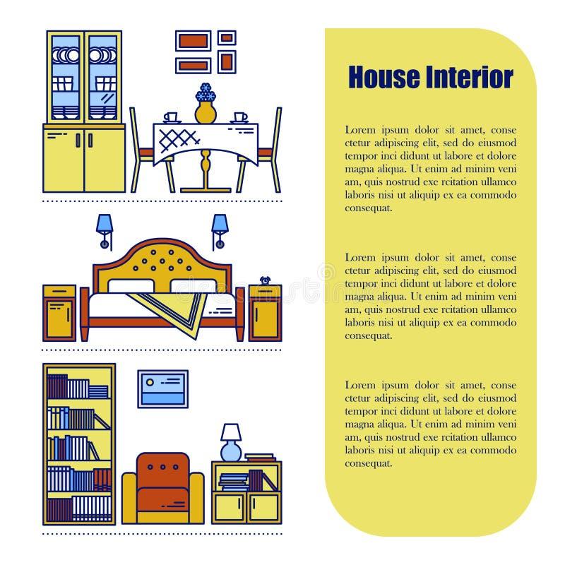 Línea infographics del estilo con los elementos del diseño interior Ilustración del vector Fondo gráfico interior de los muebles libre illustration