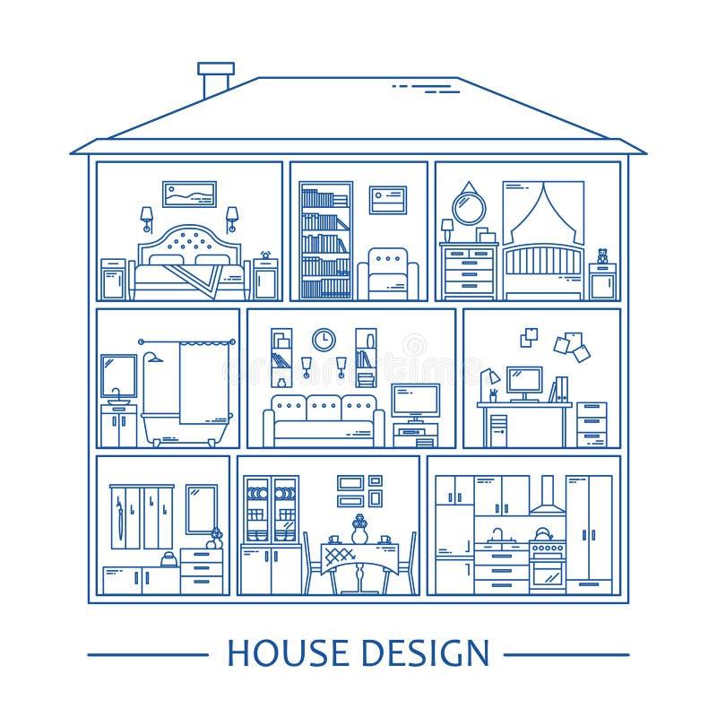 Línea infographics del estilo con los elementos del diseño interior Ilustración del vector Fondo gráfico interior de los muebles stock de ilustración