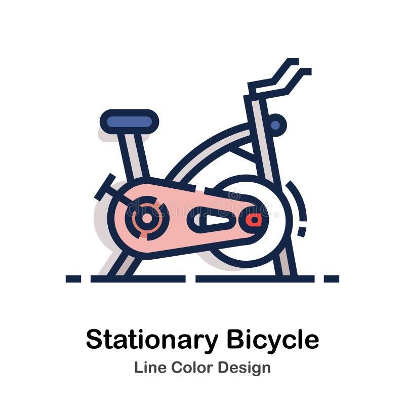 Línea inmóvil color de la bicicleta stock de ilustración