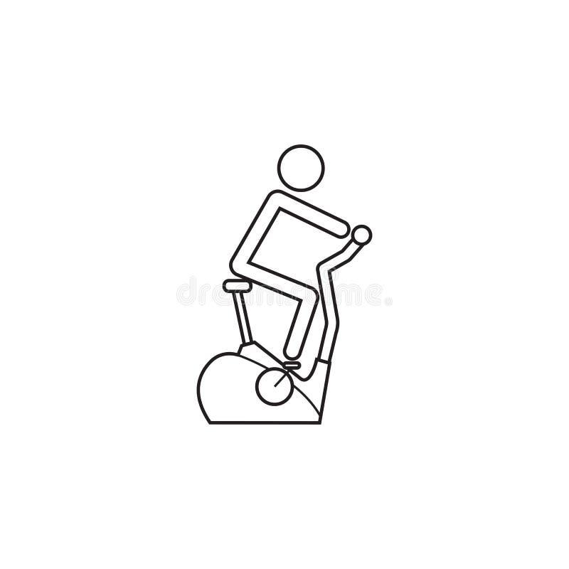 Línea inmóvil icono, bicicleta estática de la bicicleta stock de ilustración