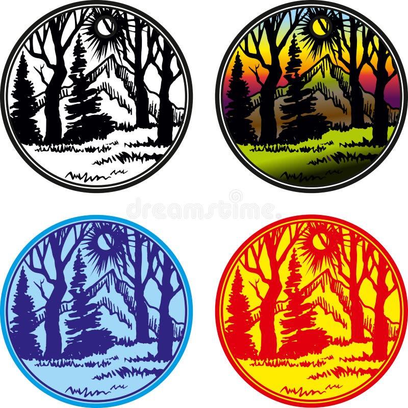 Línea insignias del vector de los logotipos con la naturaleza Etiquetas redondas libre illustration
