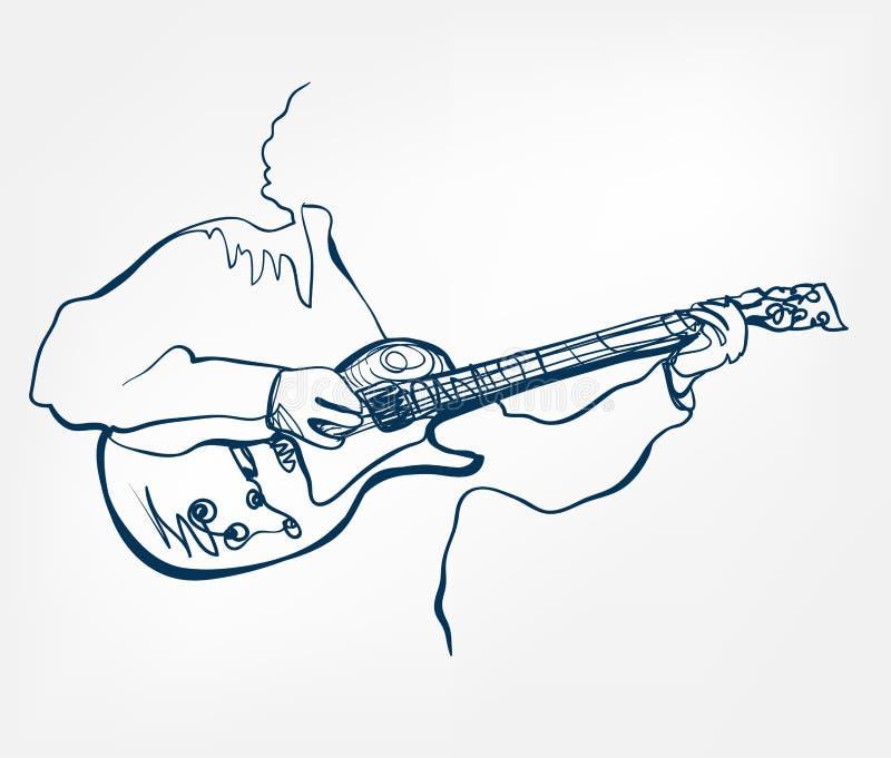 Línea instrumento del bosquejo de la guitarra de las manos de música del diseño del vector libre illustration