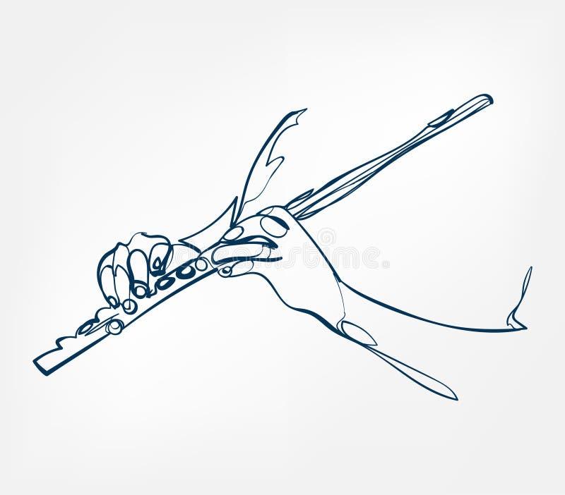 Línea instrumento del bosquejo de las manos de Fluite de música del diseño del vector stock de ilustración