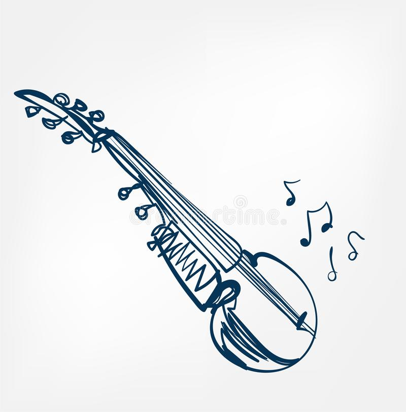 Línea instrumento del bosquejo de Sarod de música del diseño del vector ilustración del vector