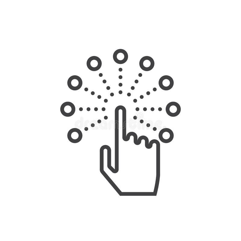 Línea interactiva icono, registro del interfaz de la pantalla táctil del vector del esquema stock de ilustración