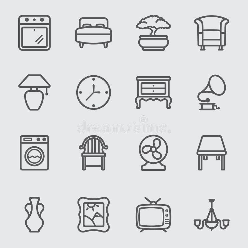 Línea interior casera icono ilustración del vector