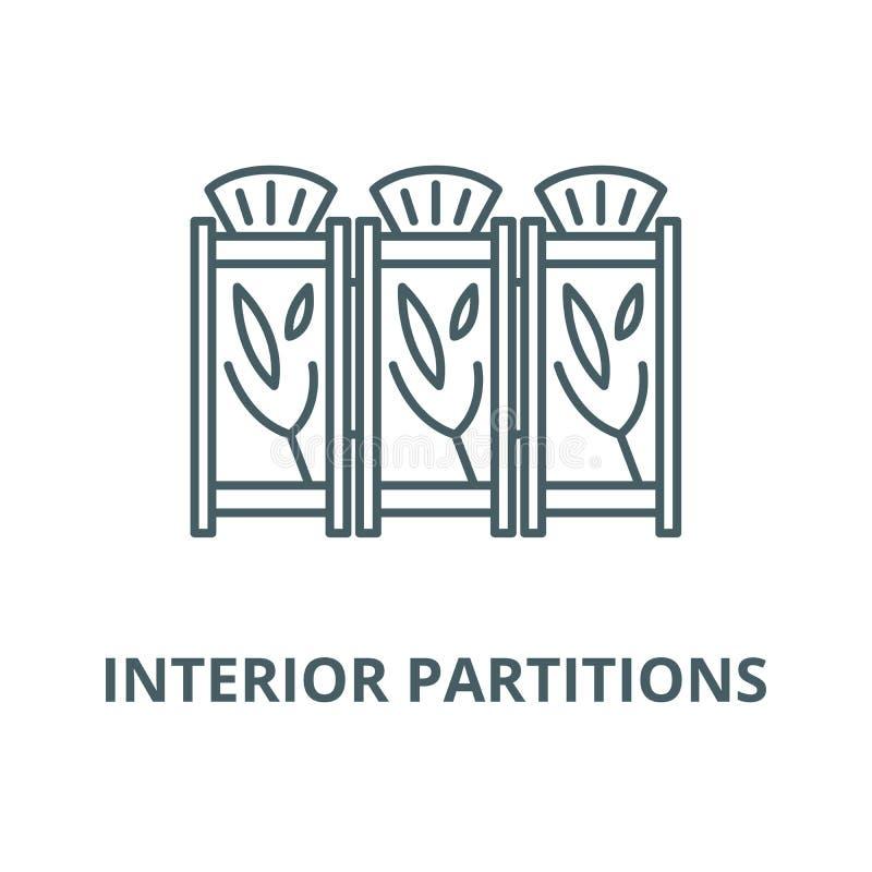 Línea interior icono, concepto linear, muestra del esquema, símbolo del vector de las divisiones stock de ilustración