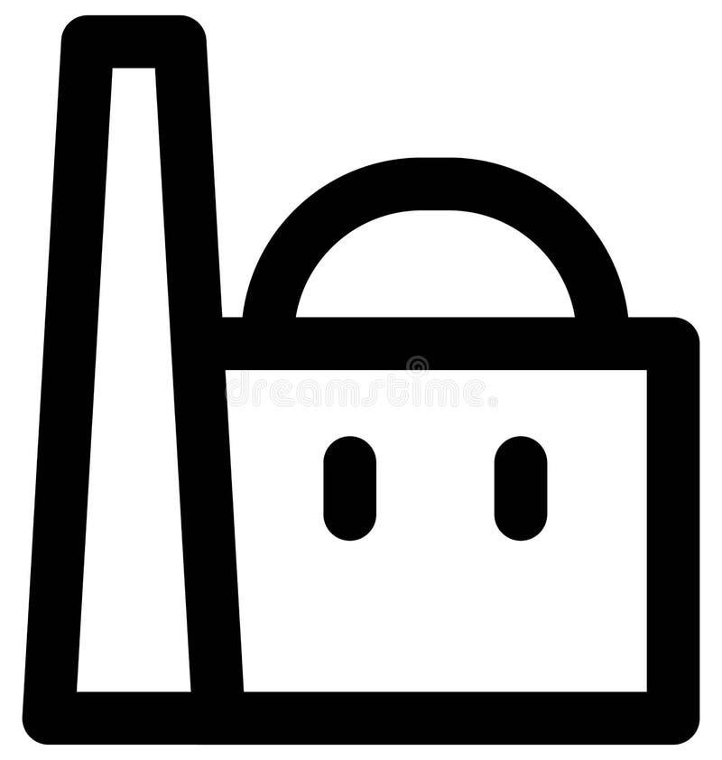 Línea intrépida icono de la central nuclear que puede modificarse o corregir y colorear fácilmente también stock de ilustración