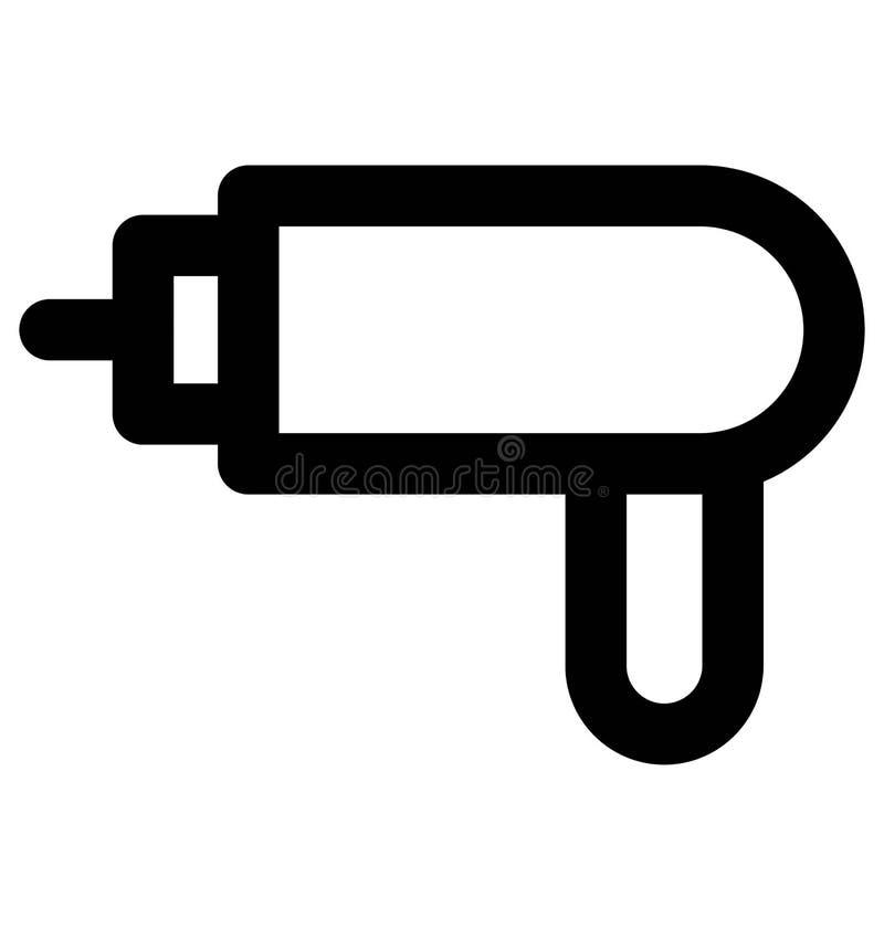 Línea intrépida icono de la máquina del taladro que puede modificarse o corregir y colorear fácilmente también stock de ilustración