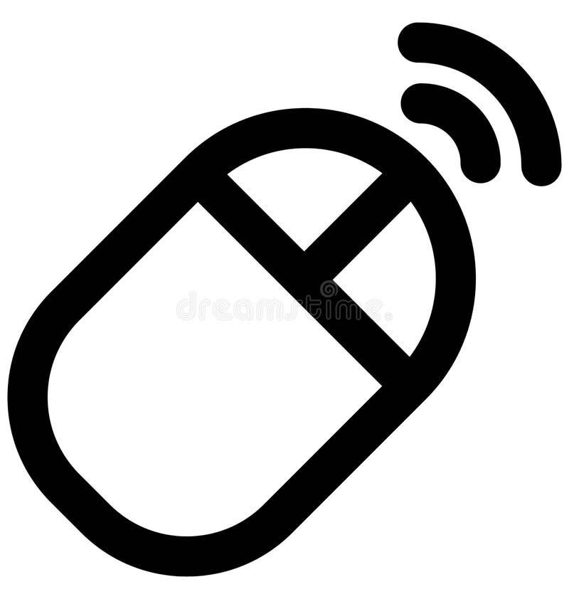 Línea intrépida icono del ratón inalámbrico que puede modificarse o corregir y colorear fácilmente también stock de ilustración