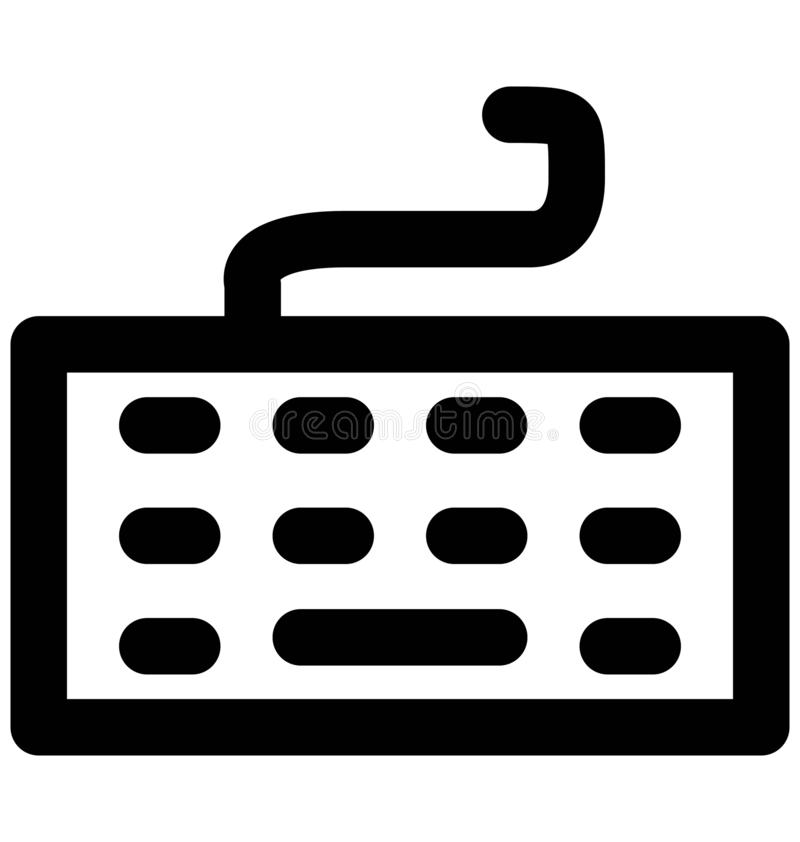 Línea intrépida icono del teclado que puede modificarse o corregir y colorear fácilmente también libre illustration