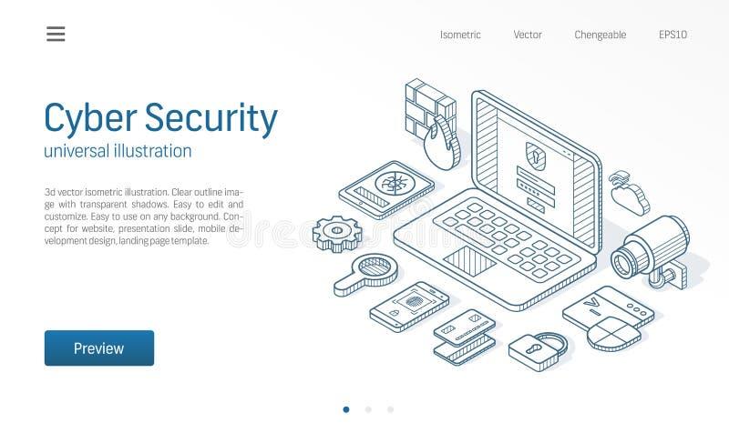 Línea isométrica moderna ejemplo de la seguridad cibernética Fondo abstracto del vector 3d Los datos en línea protegen servicio,  stock de ilustración