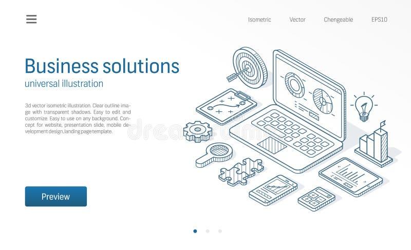 Línea isométrica moderna ejemplo de las soluciones del negocio Plan, meta, misión, icono dibujado bosquejo del análisis de datos  stock de ilustración