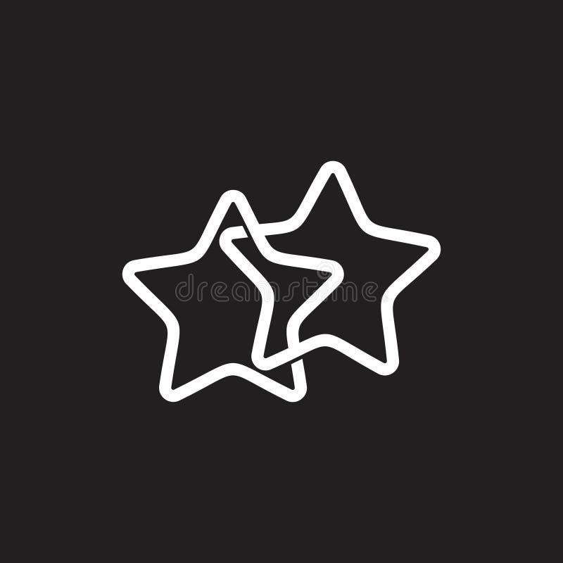 Línea ligada vector geométrico del logotipo del símbolo de dos estrellas stock de ilustración