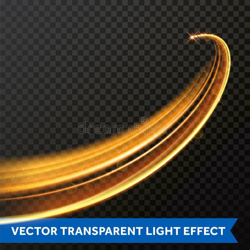 Línea ligera efecto del remolino del oro Rastro de la llamarada del fuego de la luz del brillo del vector ilustración del vector
