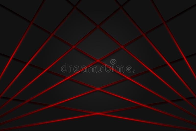 Línea ligera roja fondo gris oscuro de la sombra ilustración del vector
