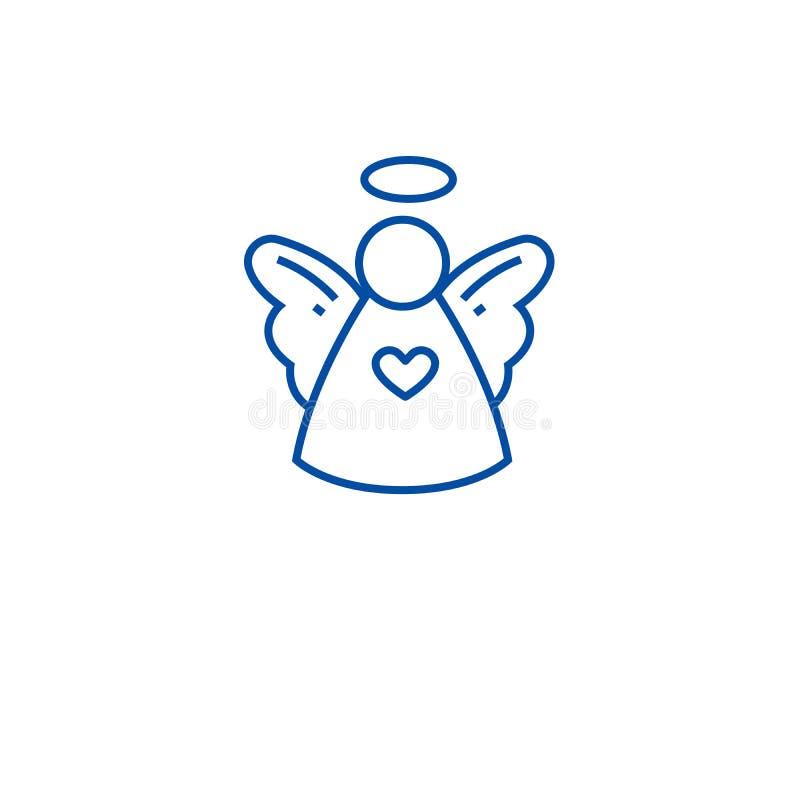 Línea linda concepto del ángel de la Navidad del icono Símbolo plano del vector del ángel lindo de la Navidad, muestra, ejemplo d stock de ilustración