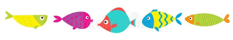 Línea linda del sistema del icono de los pescados de la historieta El bebé embroma la colección Animales del océano del mar del a stock de ilustración