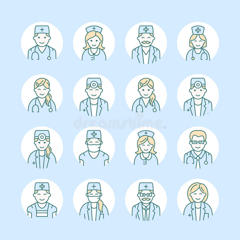 Línea linda icono del vector de doctor Logotipo linear de la clínica del hospital Resuma la muestra médica - cirujano, cardiólogo ilustración del vector