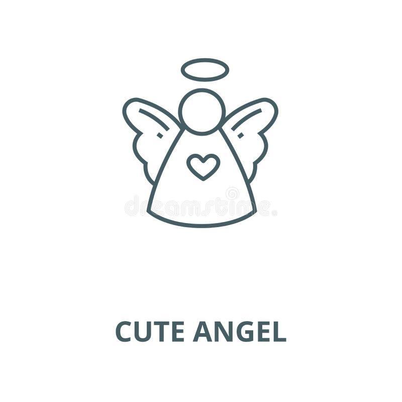 Línea linda icono, vector del ángel de la Navidad Muestra linda del esquema del ángel de la Navidad, símbolo del concepto, ej stock de ilustración