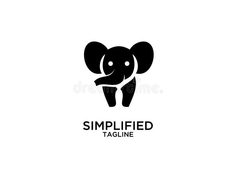 Línea linda vector del esquema del color oro del negro del elefante de los diseños del icono del logotipo de la silueta del siste stock de ilustración