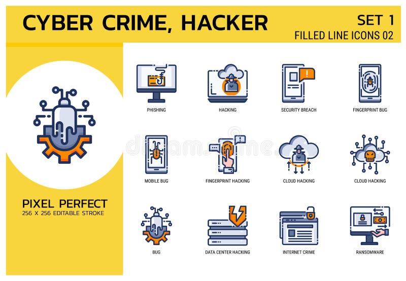 Línea llenada estilo de los iconos Ataque cibernético del crimen del pirata informático para el diseño web, ui, ux, web móvil, an ilustración del vector