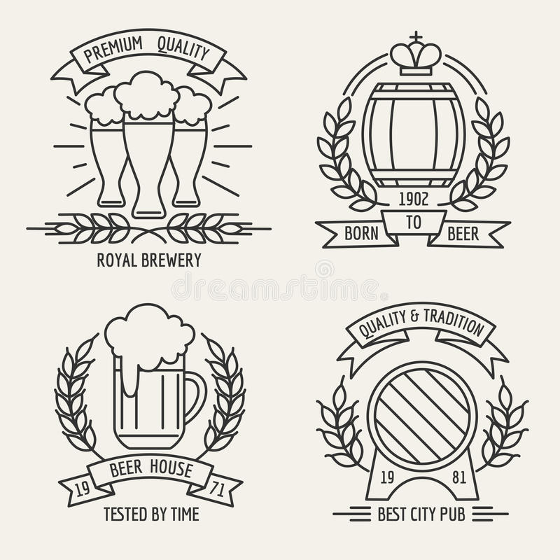Línea logotipo de la cerveza libre illustration