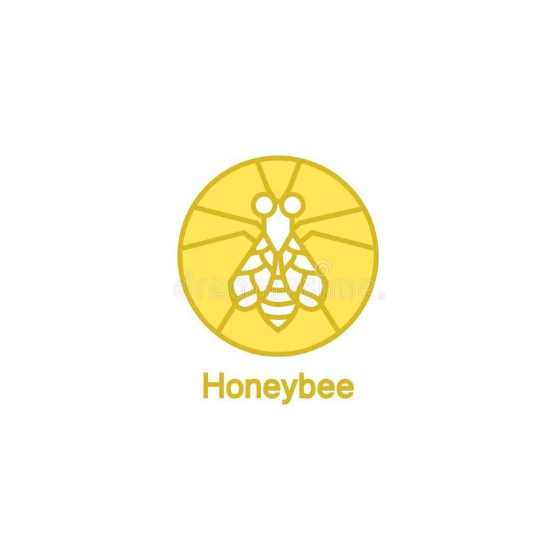 Línea logotipo del vector con la abeja libre illustration