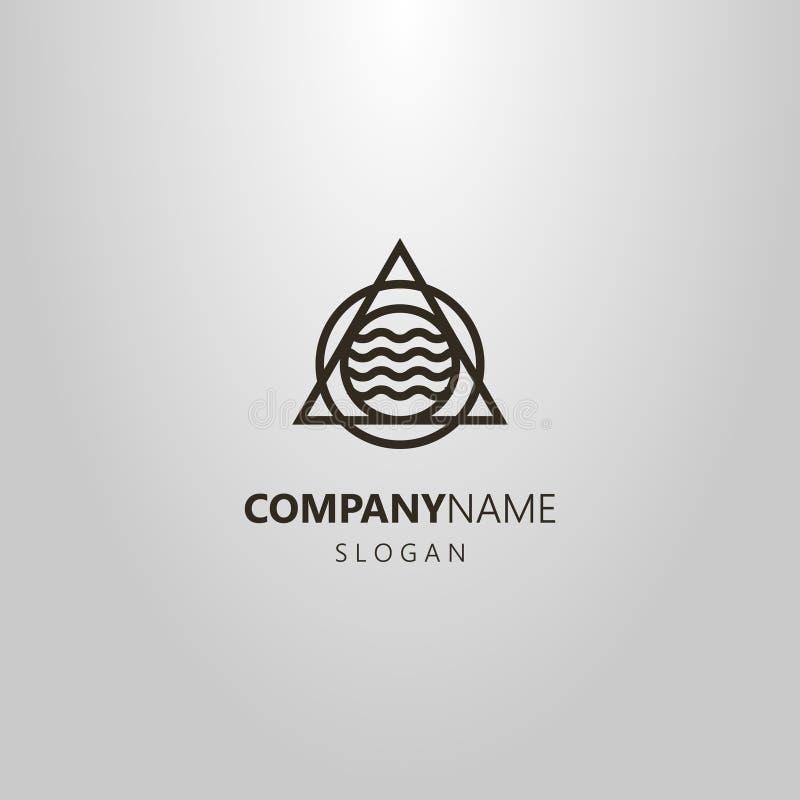 Línea logotipo geométrico del arte de círculos y un triángulo con las líneas onduladas en el centro libre illustration