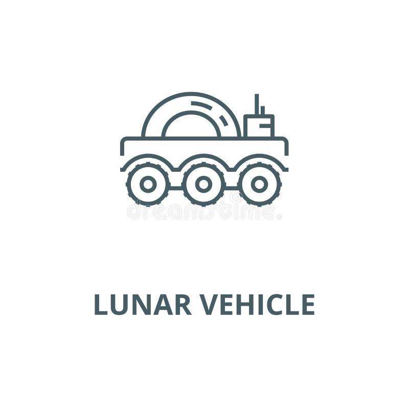 Línea lunar icono, concepto linear, muestra del esquema, símbolo del vector del vehículo stock de ilustración