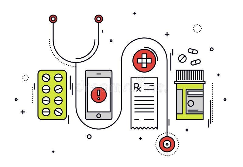 Línea médica ejemplo de los diagnósticos del estilo stock de ilustración
