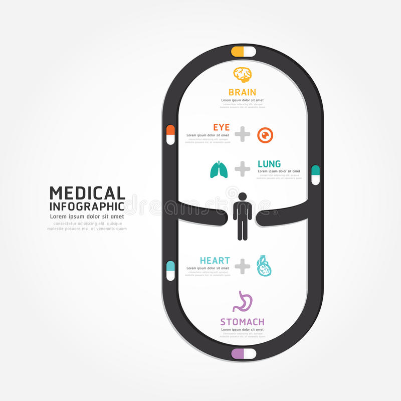 Línea médica estilo del diagrama del diseño de la cápsula del vector de Infographics stock de ilustración