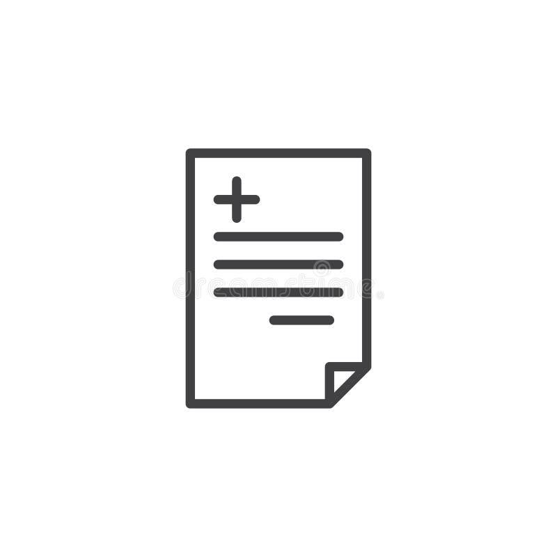 Línea médica icono de la prescripción libre illustration