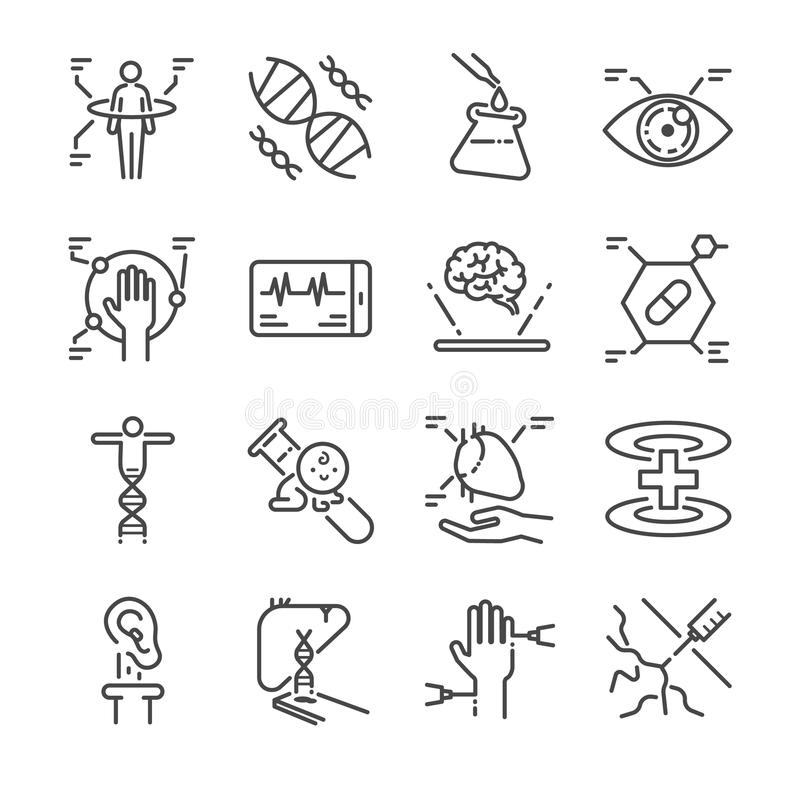 Línea médica sistema de la innovación del icono Incluyó los iconos como la exploración física, el ojo digital, la DNA, el pseudo  stock de ilustración