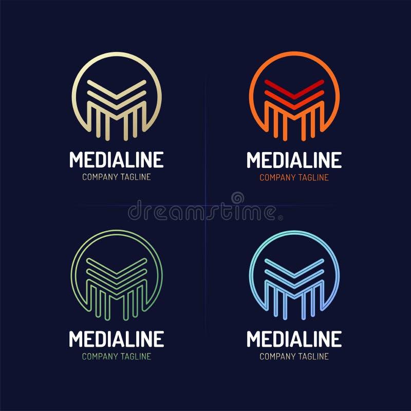 Línea mínima estilo de fuente M Letter Logo con el círculo stock de ilustración