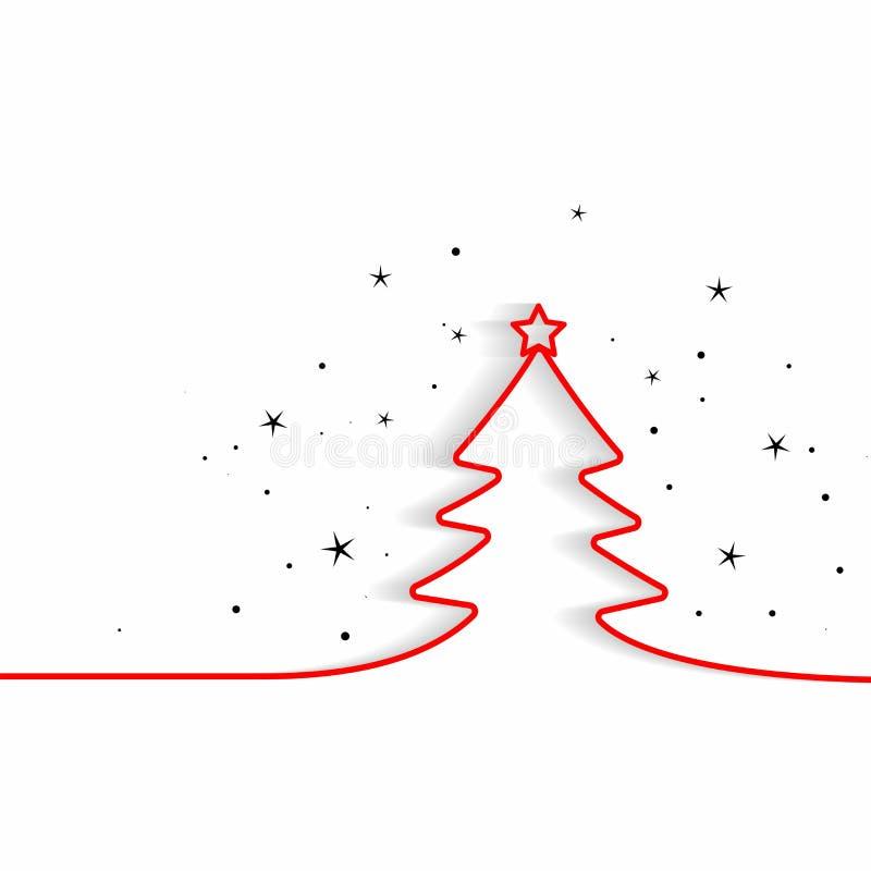 Línea mínima fondo del árbol de navidad stock de ilustración
