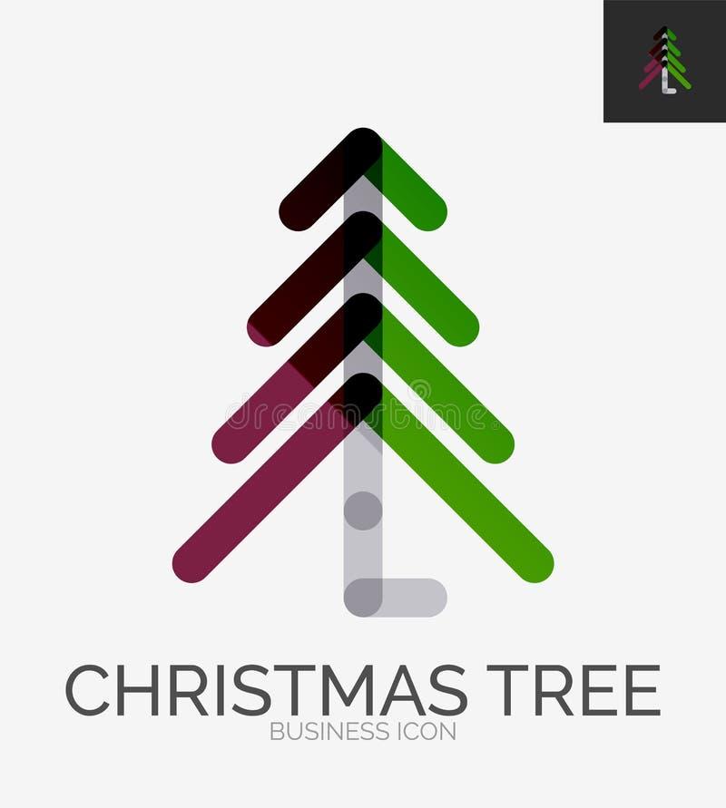 Línea mínima logotipo del diseño, icono del árbol de navidad libre illustration