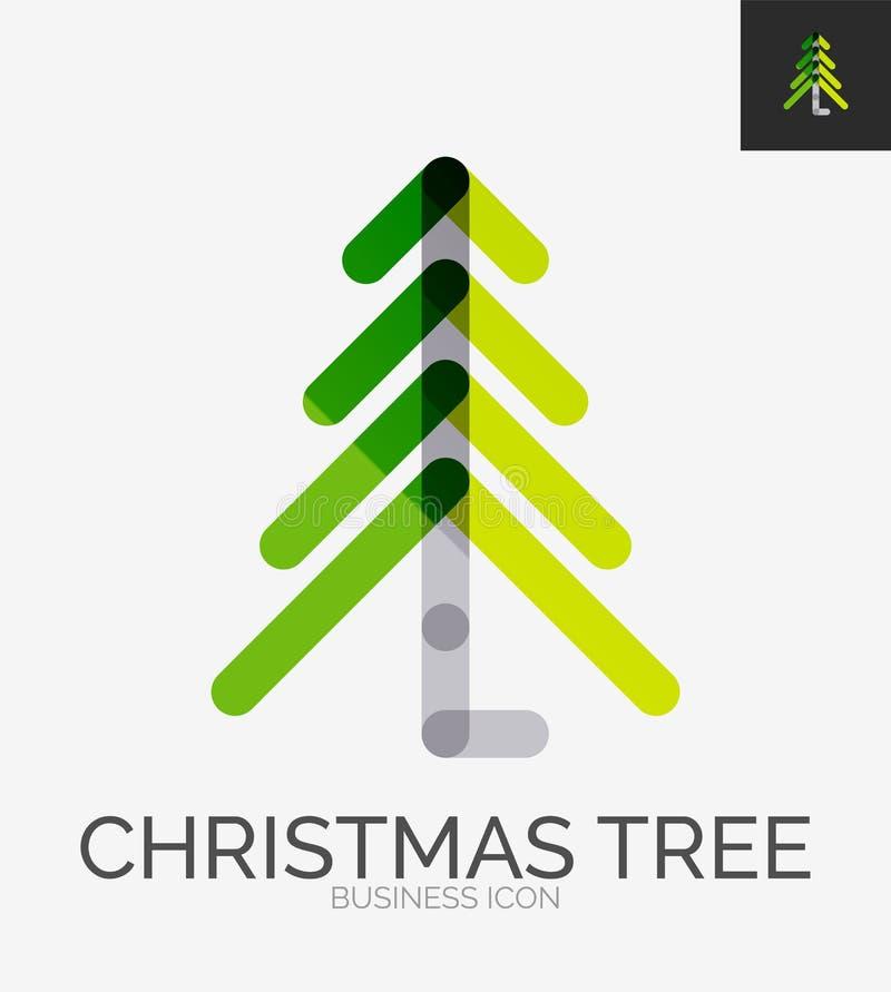 Línea mínima logotipo del diseño, icono del árbol de navidad stock de ilustración