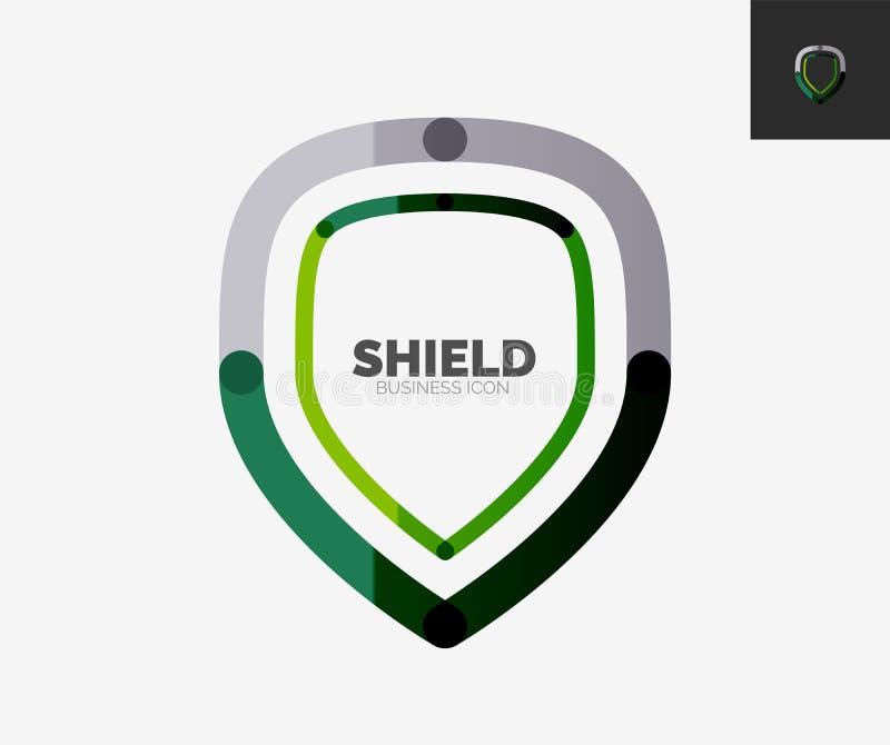 Línea mínima logotipo del diseño, icono del escudo libre illustration