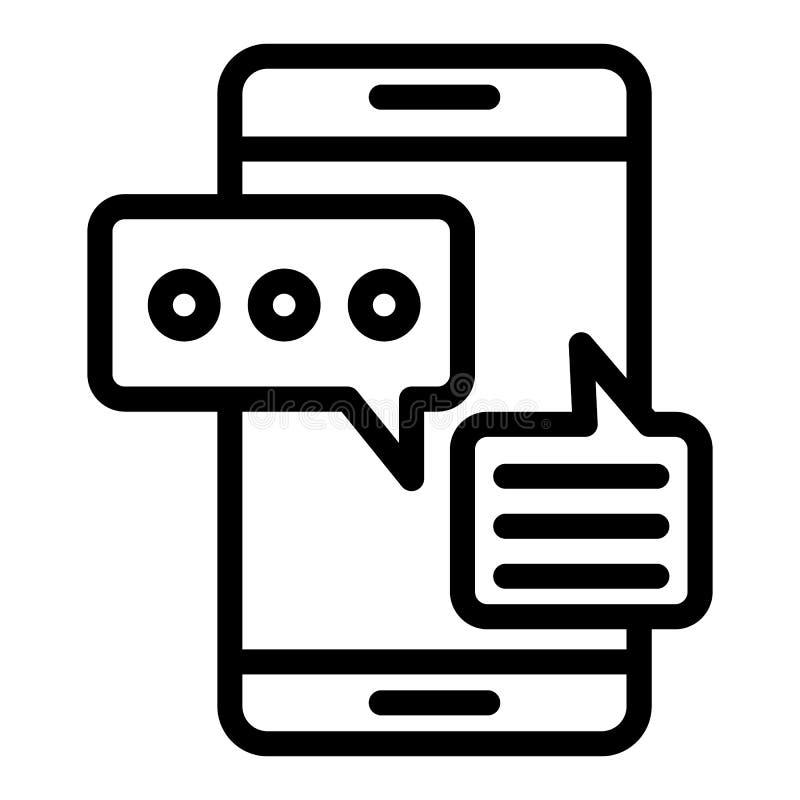 Línea móvil icono de la charla Smartphone y ejemplo del vector de los diálogos aislado en blanco Mensajes en esquema del teléfono libre illustration