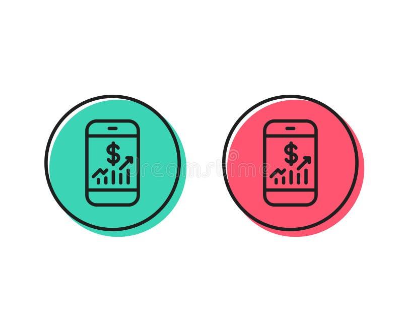 Línea móvil icono de las finanzas Muestra de la auditoría del negocio Vector libre illustration