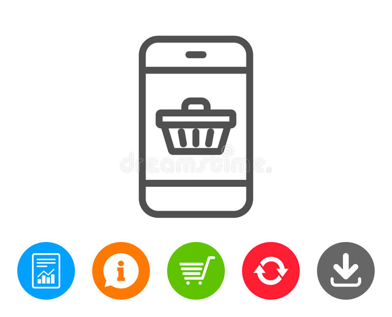 Línea móvil icono del carro de la compra Compra en línea ilustración del vector