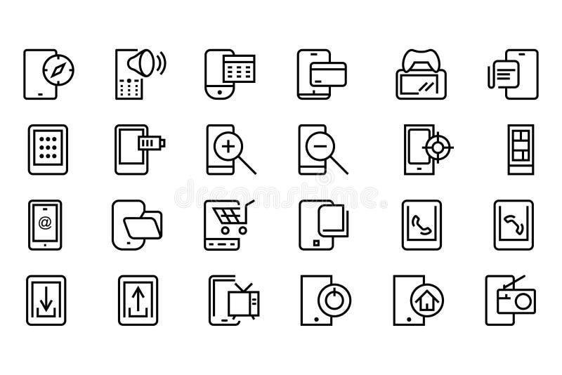 Línea móvil iconos 4 del vector stock de ilustración