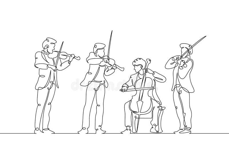 línea músicos musicales exhaustos del violín del cuarteto libre illustration