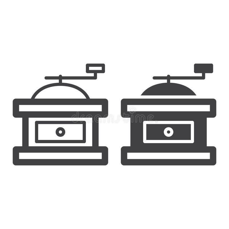 Línea manual de la amoladora del molino de café de la mano e icono sólido, esquema y pictograma llenado de la muestra del vector, libre illustration