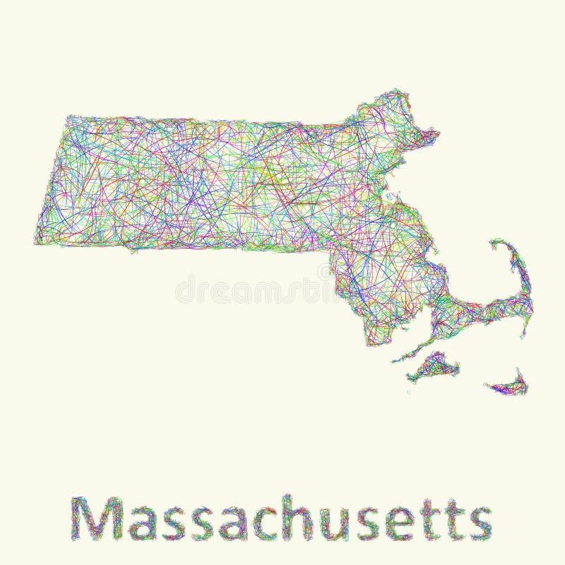 Línea mapa de Massachusetts del arte stock de ilustración