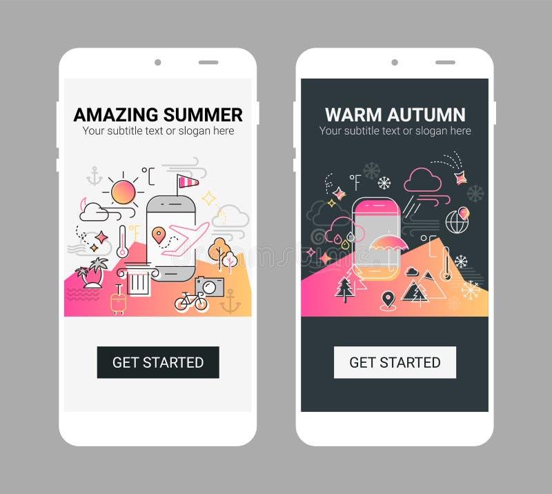 Línea maqueta del tiempo del móvil de la pantalla del app del chapoteo del ejemplo ilustración del vector